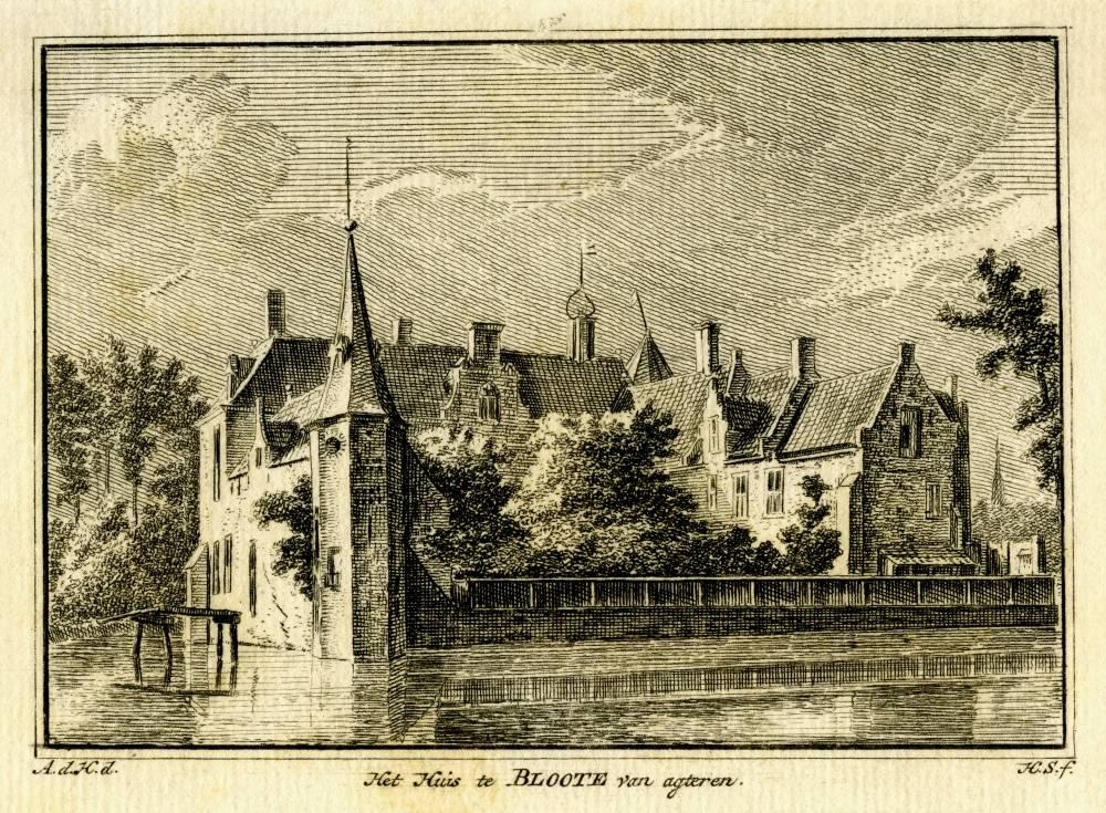 Kasteel Blotinge in Rijswijk. Tekening Abraham de Haen, gravure Hendrik Spilman (Uit: Het Verheerlykt Nederland, Isaac Tirion, 1745/1774)